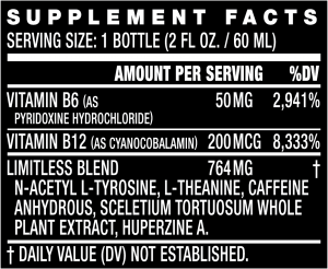 Limitless Liquid Shot - Supplement Facts